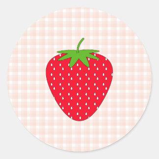 Röd jordgubbe på Ginghamkontroll Runt Klistermärke