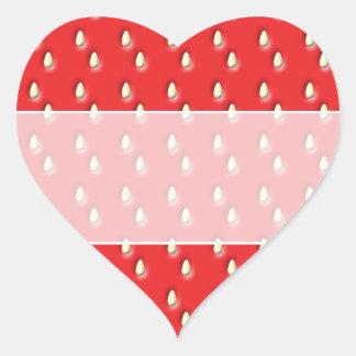 Röd jordgubbemodell hjärtformat klistermärke