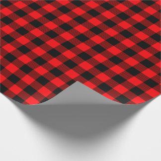 Röd jul och svart buffelkontrollpläd presentpapper