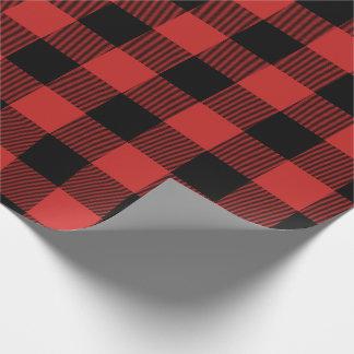 Röd jul och svart pläd för jumbobuffelkontroll presentpapper
