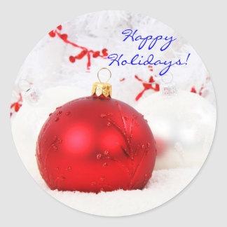 Röd jul och vitglad helg II Runt Klistermärke