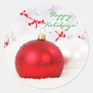 Röd jul och vitglad helg mig runt klistermärke