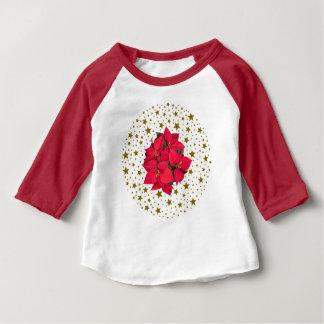 Röd julblomma och sparkly guld- stjärnor tröja