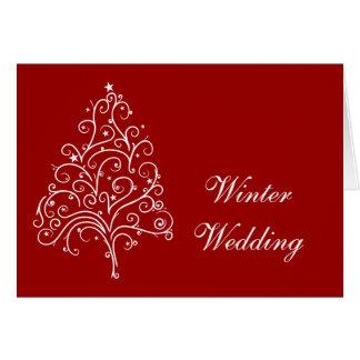 Röd julgranvinterbröllop spara datum hälsningskort