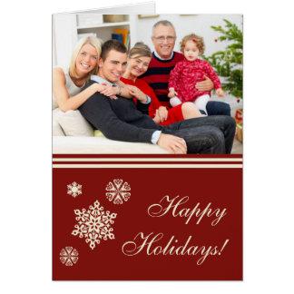 Röd julkort för glad helgsnöflingor hälsningskort