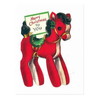 Röd julponny för vintage vykort