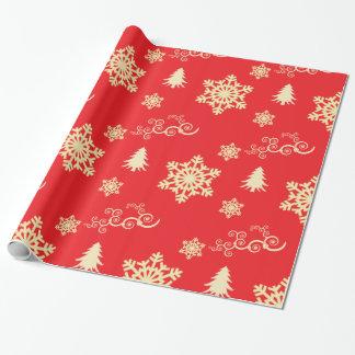 Röd julsjal med kräm- snöflingor presentpapper