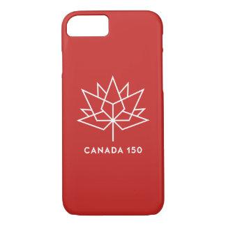 Röd Kanada 150 officielllogotyp - och vit