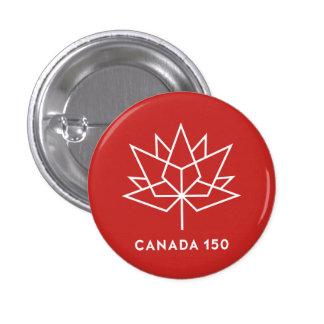 Röd Kanada 150 officielllogotyp - och vit Mini Knapp Rund 3.2 Cm