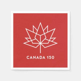 Röd Kanada 150 officielllogotyp - och vit Servetter