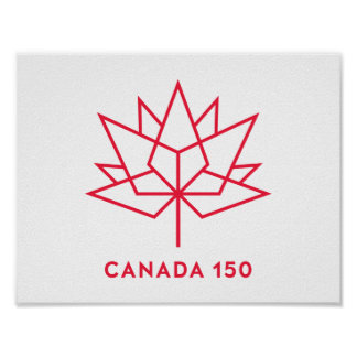 Röd Kanada 150 officielllogotyp - skissera Poster