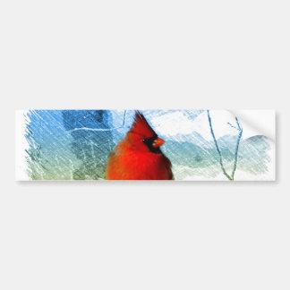 Röd kardinal för primitiv jul för westernt land bildekal