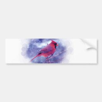 Röd kardinal i snöstormen bildekal