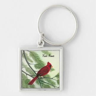 Röd kardinal - Keychain Fyrkantig Silverfärgad Nyckelring