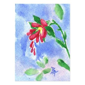 Röd kärlekblommaaceo set av breda visitkort