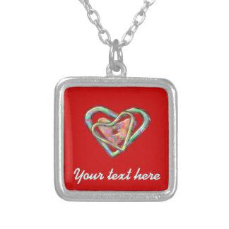 Röd kärlekhjärta för blod med trefaldig hjärta silverpläterat halsband