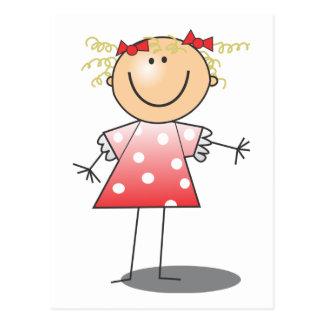 Röd klänning för pinneflicka~ vykort