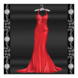 Röd klänningfödelsedagsfest inbjudan