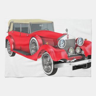 Röd klassikerbil kökshandduk