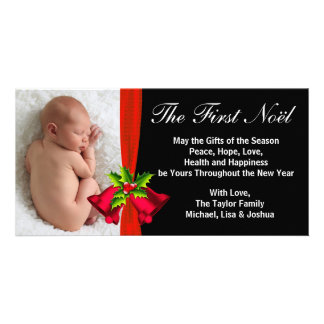 Röd Klockor baby första kort för foto för jul Fotokort