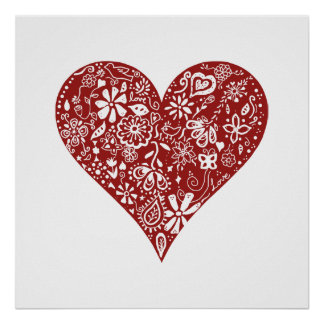 Röd klotterhjärta posters