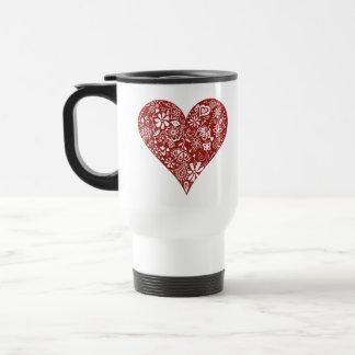 Röd klotterhjärta kaffe koppar