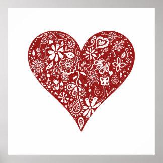 Röd klotterhjärta poster