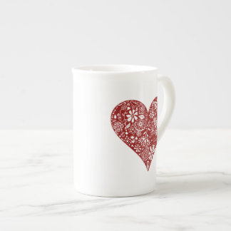 Röd klotterhjärta bone china kopp