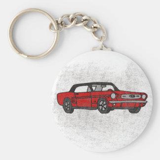 Röd konvertibel ponnybil för kall Retro vintage Rund Nyckelring