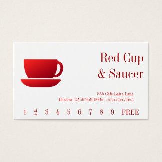 Röd kopp- & saucer- & heltäckandebaksida visitkort