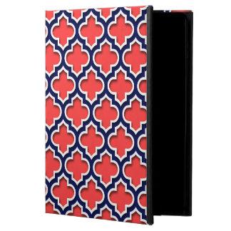 Röd korall, marinvit marockanska Quatrefoil #5DS Fodral För iPad Air
