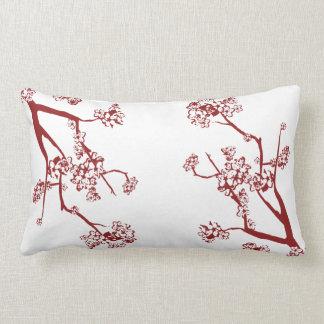 Röd körsbärsröd blommardekorativ kudde