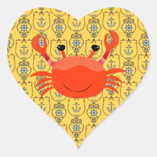 Röd krabba på nautisk hjärtaklistermärke hjärtformat klistermärke