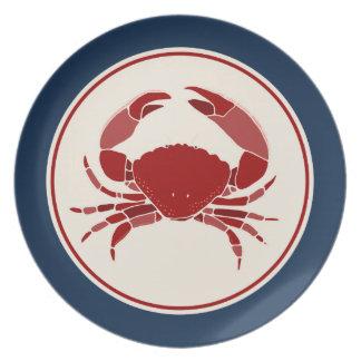 Röd krabba tallrik