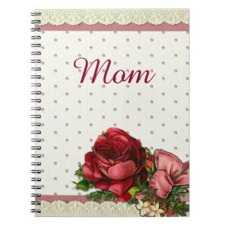 Röd & kräm- bukett med rosor med snöre anteckningsbok med spiral
