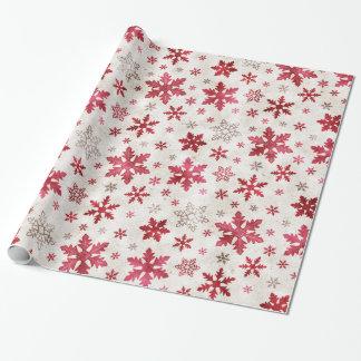 Röd/kräm Chrismas helgdagsnöflingor - Presentpapper