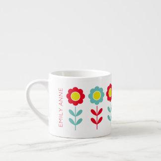 Röd kricka och gula blommabarns mugg espressomugg