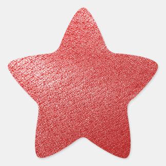 Röd läderLook Stjärnformat Klistermärke