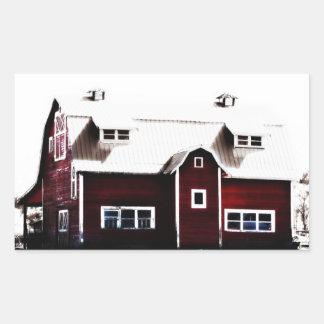 Röd ladugård i landet rektangulärt klistermärke