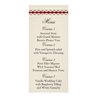 Röd lantlig burlap- och snörelandsbyggsbröllop reklamkort
