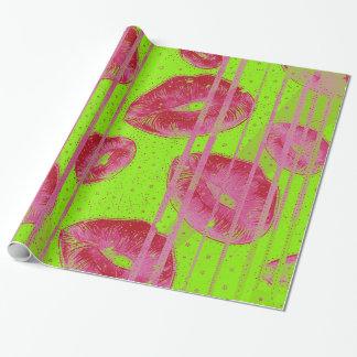 Röd läppar för neonlimefrukt presentpapper