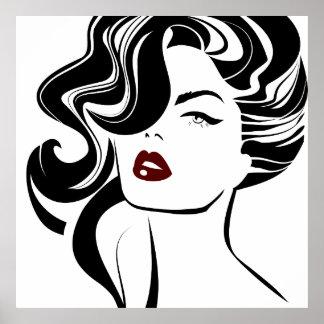 Röd läppar för Retro flicka Poster