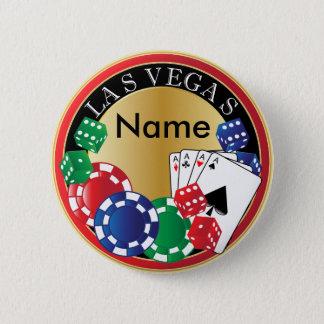 Röd Las Vegas spelare - tärning, kort, pokerchiper Standard Knapp Rund 5.7 Cm
