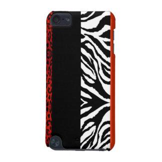 Röd Leopard och beställnings- djurt tryck för sebr iPod Touch 5G Fodral
