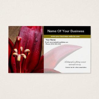 Röd liljablomma för frilans- fotograf visitkort