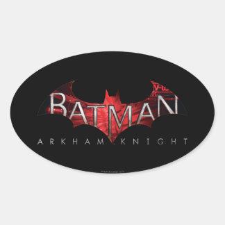 Röd logotyp för uppassareArkham riddare Ovalt Klistermärke