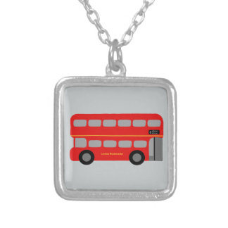 Röd London buss Silverpläterat Halsband