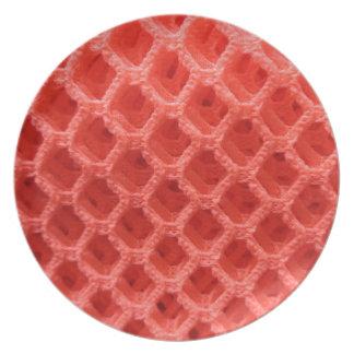 Röd Look för färgadvirkningtyg Tallrik