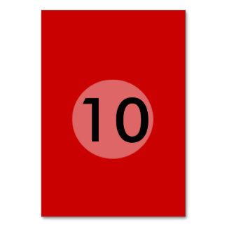 Röd mall bordsnummer