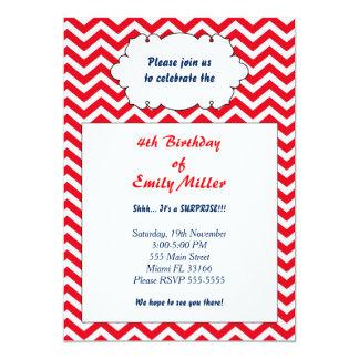 Röd marinblå födelsedaginbjudan för sparre 12,7 x 17,8 cm inbjudningskort